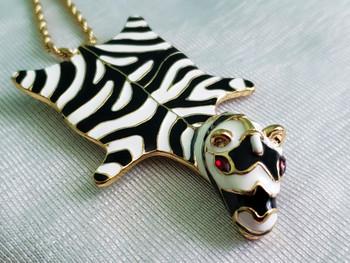Kenneth J. Lane Designer Signed Zebra Pendant Necklace