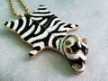 Kenneth J. Lane Designer Signed Zebra Pendant Necklace