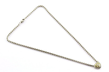 "David Yurman 18K Gold & Sterling Silver Diamond Heart Cookie 16"" Necklace"