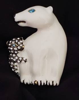 Designer Signed Heidi Daus Polar Vortex polar bear pin