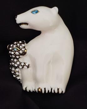 Designer Signed Heidi Daus Polar Vortex polar bear pin