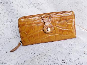 Michael Rome Designs Croc Embossed Zip-Around Checkbook Wallet