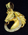 JMD Jewelry Designs 14k (14kt) Gold Horse and Horseshoe Charm Pendant