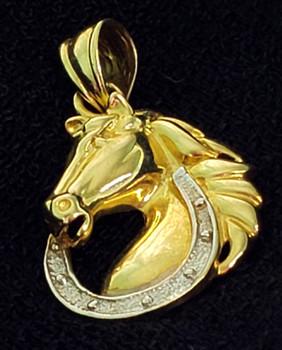 JMD Jewelry Designs 14k (14kt) Gold Horse and Horseshoe Charm Pendant