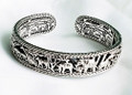 JAI Sterling Spirit Of Africa carved animals Hinged Cuff Bracelet