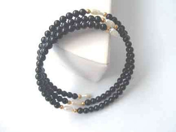 Black Onyx Bead twist bracelet