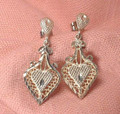Sterling Silver Filigree Heart Earrings