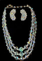 Vintage Triple Strand Crystal Necklace and Earrings Set
