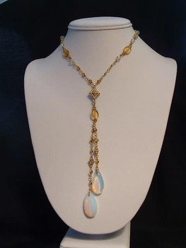 Vintage Lariat Amber Bead Necklace