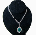 Vintage Chrysophase Pendant Necklace