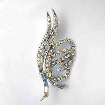 Vintage AB Crystal Rhinestone Pin / Brooch
