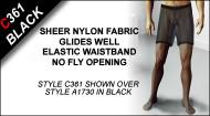 C361 Boxer Shorts, Sheer Nylon