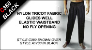 C380 Long Lounge Pants/Pant Liners, Nylon Tricot