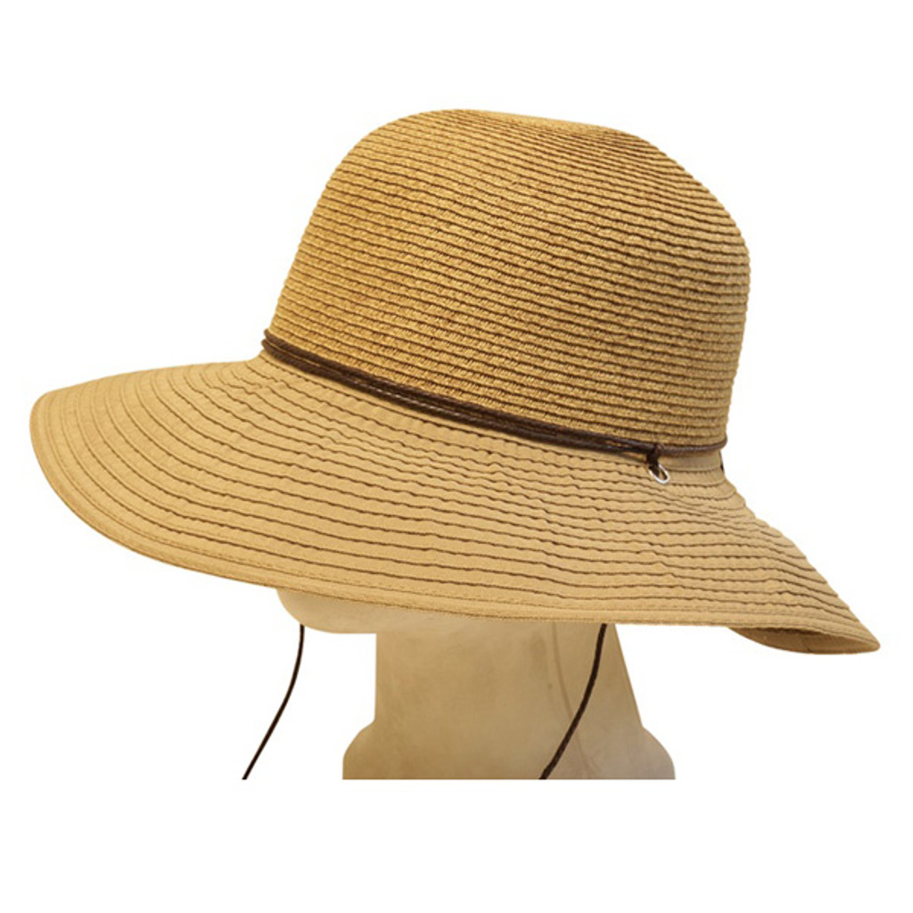 Boardwalk Style   Straw and Ribbon Lampshade Hat With Chin ...