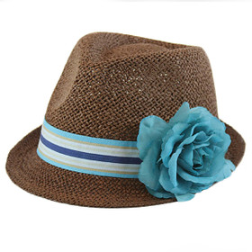 Something Special - Blue Straw Fedora with Ribbon and Flower