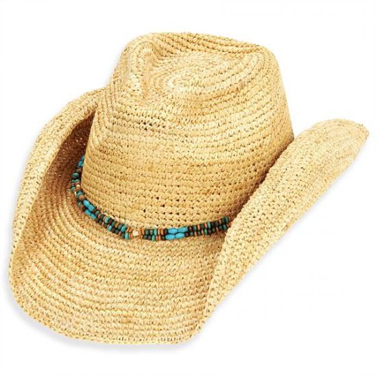 Sun 'N' Sand - Natural Sand Jewel Crochet Raffia Cowboy Hat