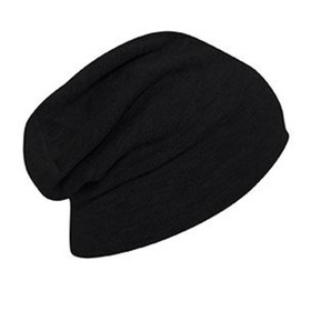 Otto Cap - Black Knitted Slouch Beanie