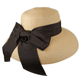 Dynamic Asia - Natural Brown Straw Lampshade Sun Hat with Ribbon