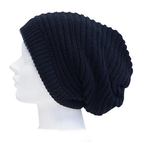 Downtown Style - Reversible Winter Beanie Hat Black