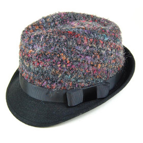Downtown Style - Nubby Multi-Color Dyed Fedora Hat Black