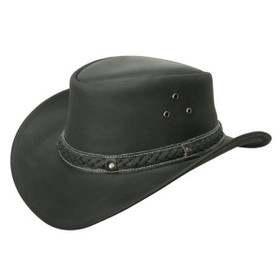 Conner - Down Under Leather Outback Hat Black