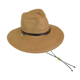 Boardwalk Style - Brown Mixed Straw Safari Hat With Cord