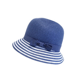 Boardwalk Style - Child's Straw Cloche Bucket Hat in Navy - Full View
