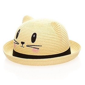 Boardwalk Style - Kids Straw Kitty Hat - Black