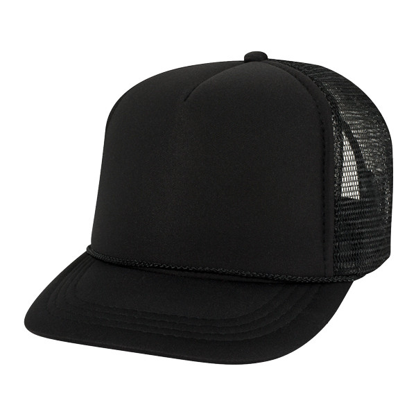 Otto Cap Youth 5 Panel Tracker Cap in Black - Full View
