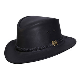Conner Streetwise Leather Fedora in Black - Full View