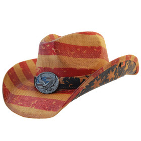 California Hat Company - Vintage American Flag Cowboy Hat With Eagle Full view