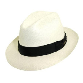 Scala - Grade 3 Panama Snap Brim Hat in White - Full view