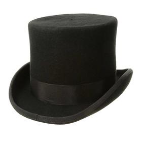 Dorfman Pacific - Low Crown Top Hat in Black - Full View