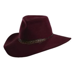 Scala - Wide Brim Safari Hat in Burgunday