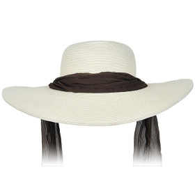 Karen Keith - Wide Brim Designer Resort Hat With Tie in Ivory