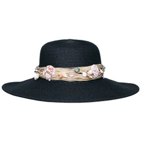 Karen Keith - Designer Resort Sea Shell Sun Hat in Black