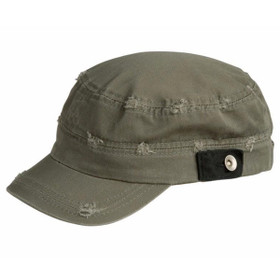 Conner - Distressed Army Fatigue Cap in Olive