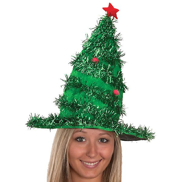 Christmas Tree Hats: Tinsel Christmas Tree Hat