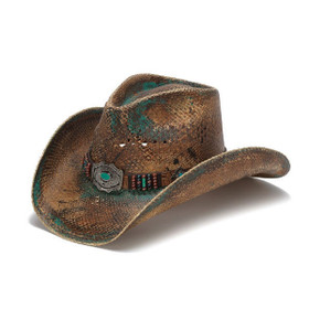 Stampede Hats - Blue Stained Straw Cowboy Hat with Beadwork and Turquoise - Front Angle