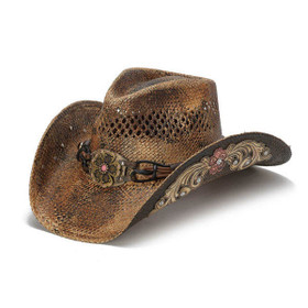 Stampede Hats - Flowers and Rhinestone Brown Cowboy Hat - Front Angle