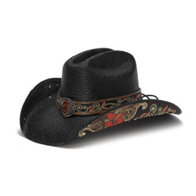 Stampede Hats - Black Cowboy Hat with Red Hibiscus Flower and Rhinestones - Front Angle