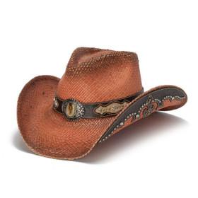 Stampede Hats -Orange Rhinestone Cowboy Hat - Front Angle