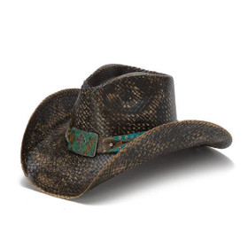 Distressed Black Cowboy Hat with Turquoise Band and Rhinestones - Front Angle