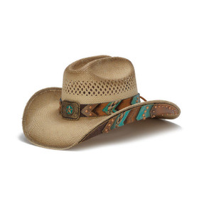 Stampede Hats - Brown and Turquoise Lone Star Western Hat with Chevron Pattern - Front Angle
