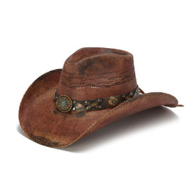 Stampede Hats - Rustic Burgundy Cowboy Hat with Turquoise Stone - Front Angle