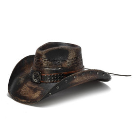 Stampede Hats - Studded Black Stain Lone Star Western Hat - Front Angle