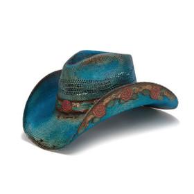 Stampede Hats - Blue Rose Straw Cowboy Hat - Front Angle
