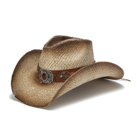 Stampede Hats - Brownstone and Turquoise Embroidered Cowboy Hat - Front Angle