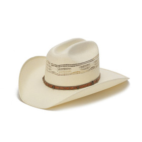 Stampede Hats - 50X Bangora Straw Western Hat with Studded Leather Trim - Front Angle