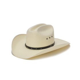 Stampede Hats - 50X Bangora Straw Western Hat with Criss Cross Stud Trim - Front Angle